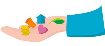 Piirretty käsi, jolla on lehti, sydän, talo, kolikoita ja megafoni.