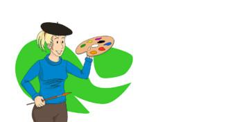Piirretty hahmo, jolla on maalauspaletti ja sivellin kädessä ja baskeri päässä.