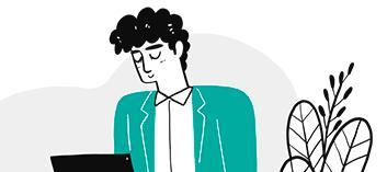 Piirretty hahmo sinivihreässä jakussa.