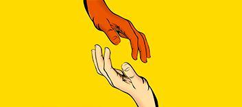 keltaisella taustalla kädet lähes koskettamassa toisiaan.