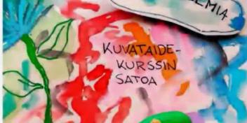 Värikäs maalaus, teksti: Kuvataidekurssin satoa.