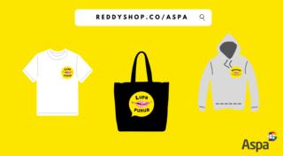 Keltaisella taustalla t-paita, kassi ja huppari Lupa puhua- ja voimaa seksuaalisuudesta-logoilla. reddyshop.co/aspa. Aspan logo.